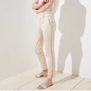 NWOT LOFT Girlfriend chino red stripe ankle pant